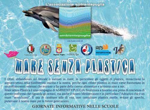 Mare senza plastica, a Bari tre giorni di sensibilizzazione e raccolta